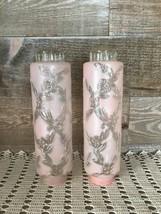 Torpedo Skyscaper Cylinder Lamp Shades Pink Glass Art Deco Floral Vintage - $94.74