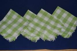 4 Vintage Cloth Napkins lime green & white checked fringed edges cotton - $6.74