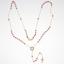 18K YELLOW GOLD ROSARY NECKLACE, FACETED RED RUBY ROOT, CROSS & MIRACULOUS MEDAL image 2
