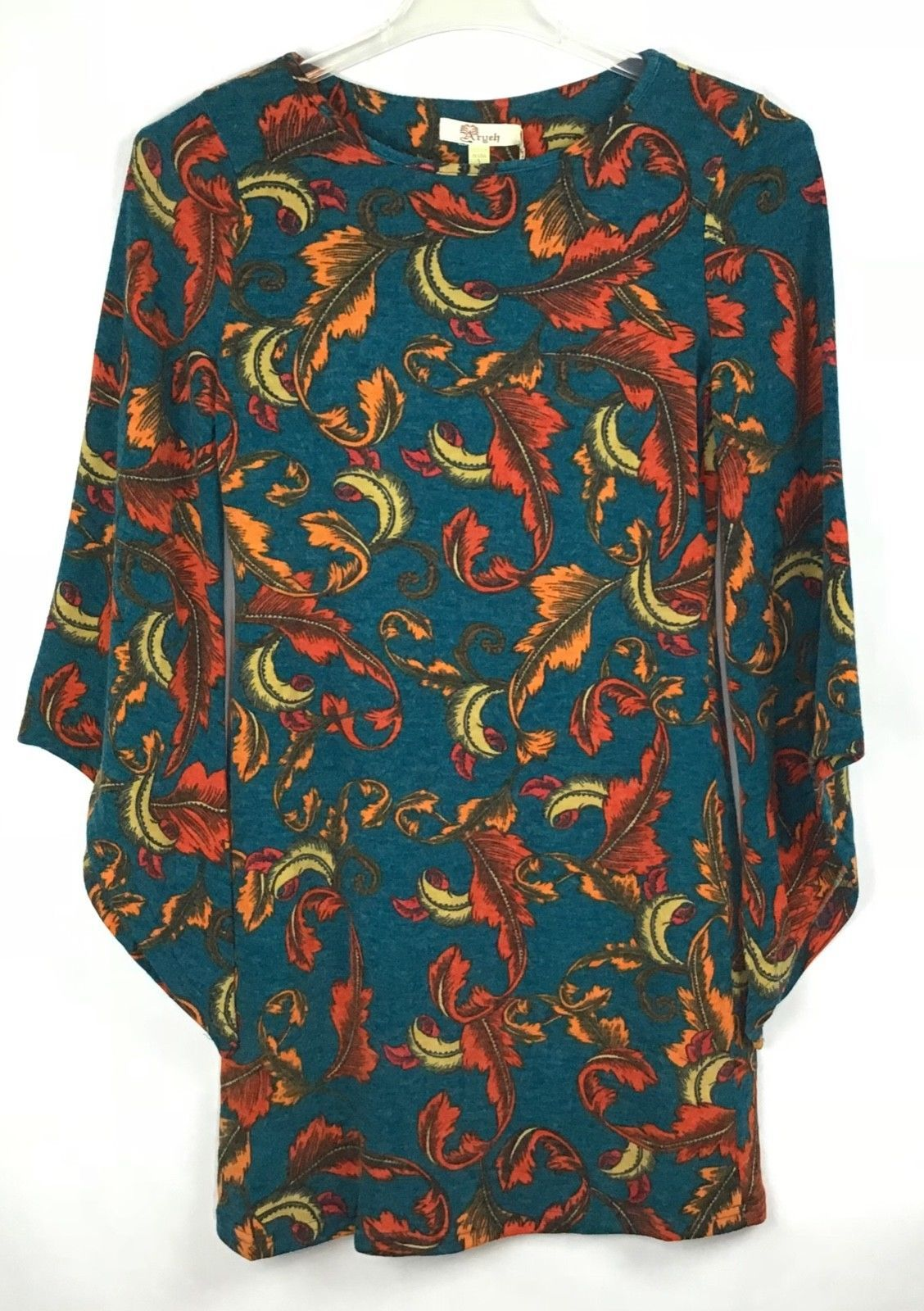 Aryeh Womens Tunic Dress Size S Angel Wing Long Sleeve Fall Autumn Leaves A9-14