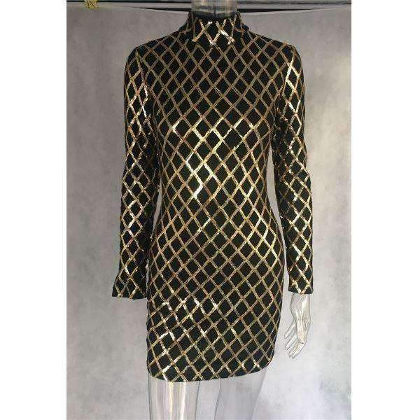 Gold Sequins Pattern Women Sexy Bodycon Party Dress