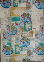 1/2 yard Map of the World maps cotton quilt fabric -free shipping image 9