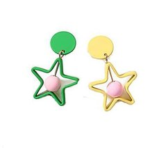 European Style Star Temperament Earrings Asymmetric Earrings,Yellow