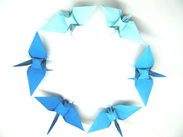 100 Large Blue 3 Shades Color Origami Cranes - $25.00