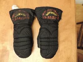 Vintage YAMAHA Snowmobile Mitts Mittens Nylon Adult M Rainbow VGUC Winte... - $21.61