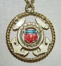 Vtg Gold Tone Rare Trifari Tm Enamel Nautical Club Medallion Pendant Necklace - $74.25