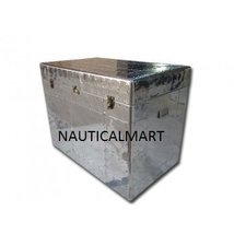 Vintage Aluminium Antique Style Aviator Spitfire Trunk and Table Box - $999.00