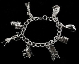 Vintage Cellini Sterling 8 Big Moveable Charms Bracelet Piano Boot Carriage 7.25 - $233.99