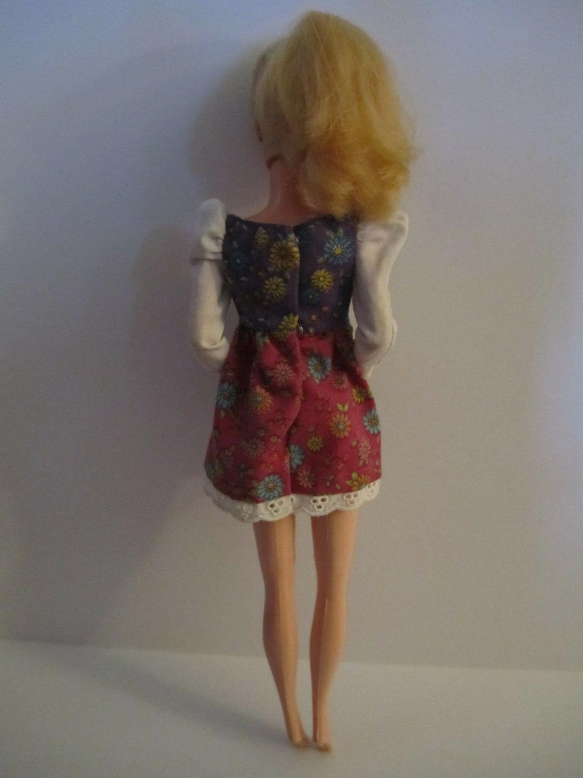 Blonde Barbie Doll in vintage Red Purple Flowered Minidress image 4