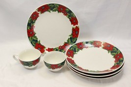Gibson Poinsettias Plates Cups Lot of 6 Christmas - $38.71