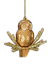KURT S. ADLER GOLD GLITTERED OWL ON BRANCH CHRISTMAS TREE ORNAMENT - $6.88