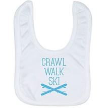Skiing Baby & Infant Bib | Crawl Walk Ski | Soft Microfiber Bib | Carolina