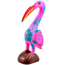 Handmade Oaxacan Copal Wood Carving Painted Folk Art Pink Flamingo Bird Figurine image 5
