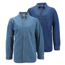 Men's Cotton Denim Long Sleeve Button Up Collared Classic Casual Dress Shirt