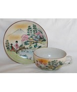 Japan Porcelain Hand Painted Scenic Cup and Saucer Set   #1942 - $32.00