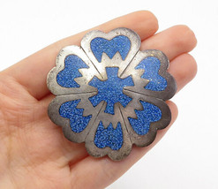 MEXICO 925 Silver - Vintage Crushed Blue Turquoise Floral Brooch Pin - B... - $56.57