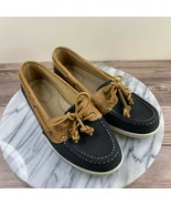 Sperry Firefish Blue Canvas Tan Leather Slip On Boat Shoes Womens Size 6.5 - $29.95