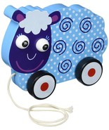 Toddler Toy, Wooden Wonders Swirly Sheep Cute Fun Push Pull Toy, Blue - $19.99