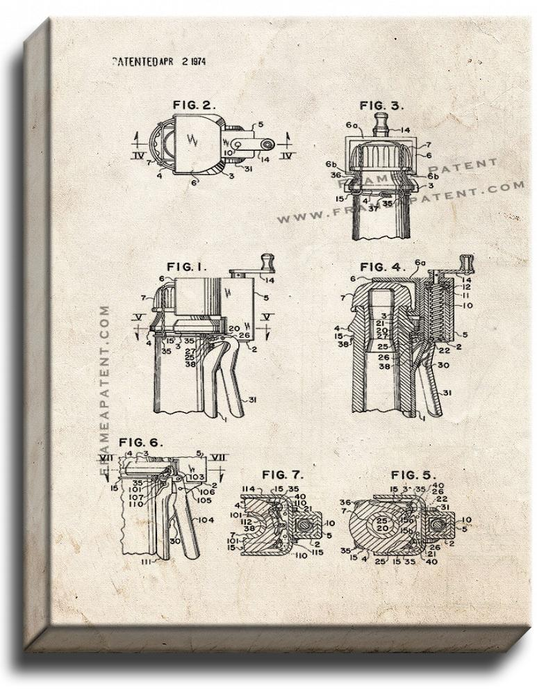 Primary image for Champagne Cork Extractor and Wire Cutter Patent Print Old Look on Canvas