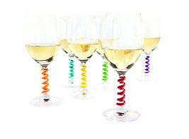 Set of 6 Multicolored Coil Shaped Silicone Drinks Wine Glass Marker Charms - $17.99