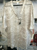 Michael Kors Collection Beige Swirl Print 100% Silk Caftan Top Sz S $500 - $155.15