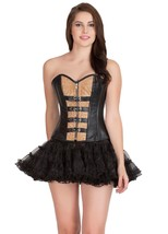 Black Printed Brown Faux Leather Goth Overbust & Tissue Tutu Skirt Corset Dress - $89.09+