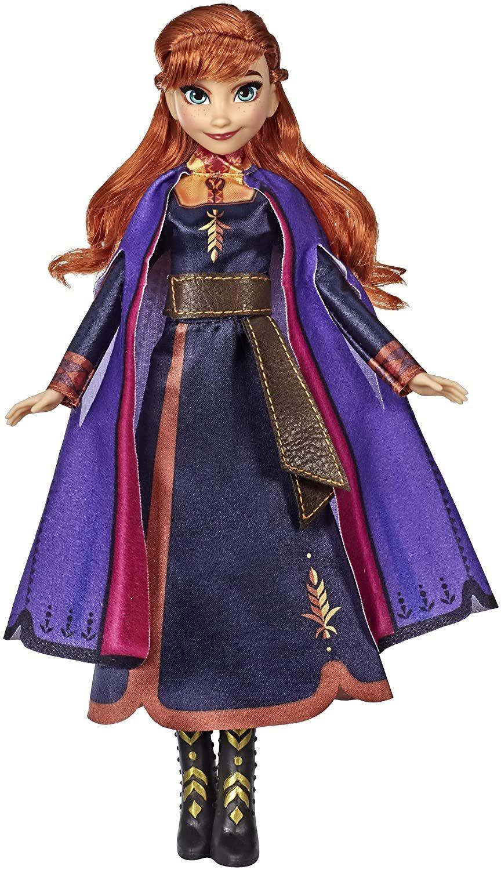 Disney Frozen Singing Anna Fashion Doll with Music Wearing A Purple Dress Inspir