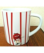M&M'S WORLD Red Stripped Mug On White Background Red Character New  - $13.83
