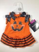 Halloween Dog Dress Pumpkin Striped Orange & Black Sz XXS Extra Extra Sm... - $9.69