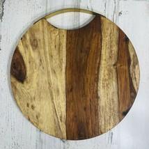 "Threshold 13"" Sheesham Wood Round Serving Chopping Board w/Handle Food S... - $12.84"