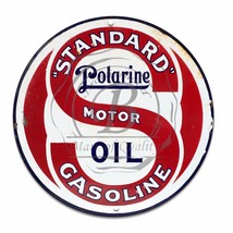 "Standard Polarine Motor Oil & Gas Design (Reproduction) 12"" Circle Aluminum Sign - $16.09"