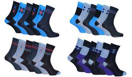 Soxinnabox - 6 Pack Mens Gift Box Colorful Pattern Stripe Argyle Blue Crew Socks - $12.99
