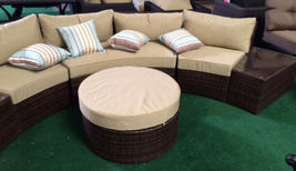 Outdoor Sofa 6 pc Sectional Wicker Brown Las Vegas Patio Furniture And Garden image 3