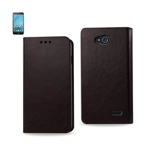REIKO LG L90 FLIP FOLIO CASE WITH CARD HOLDER IN BROWN - $8.84