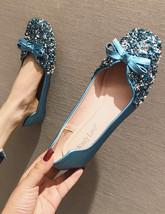 Sequin Blue Ballet Flats Slippers Shoes Crystals Evening flat Women Brid... - £39.24 GBP