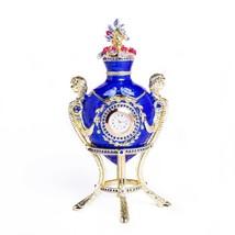 Faberge Egg Trinket Box & clock Handmade by Keren Kopal Austrian Crystals - $156.60