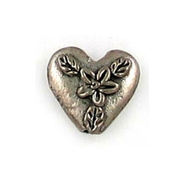 FLOWER ON HEART FINE PEWTER BEAD - 10x11x4.5mm
