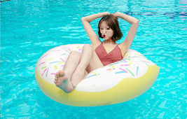 Swim About Large Donut Swim Ring Tube Pool Inflatable Floats for Adults (White) image 6