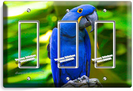 Tropical Blue Macaw Bird Parrot Triple Gfci Light Switch Plate Room Home Decor - $16.19