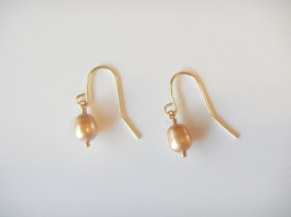 Pearl Dangle Earrings, Tan Baroque Pearls, 14k Gold Ear Wires - $15.00