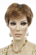 Med Red & Red Gold Blend Shaded Dk Brown Roots  Red Short Lace Front Petite Wigs - $382.38