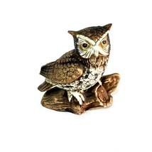 "Ceramic Owl Figurine Statue Vintage Brown 5"" On Log Collectible - $14.98"
