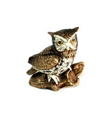 "Ceramic Owl Figurine Statue Vintage Brown 5"" On Log Collectible - $14.98"