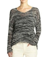 Eileen Fisher Space Dyed Cotton Tape Knit V Neck Box Top Sweater L $228 - $130.50