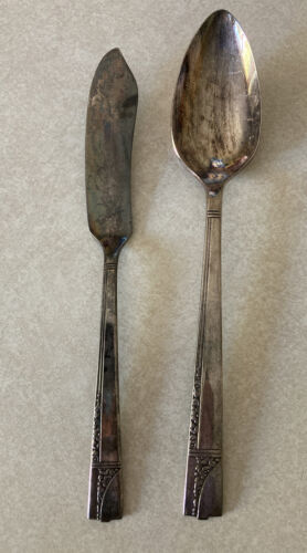 Primary image for Vintage Oneida CAPRICE Nobility Silver Plate 1937 Silverware Flatware Lot 2 Pcs
