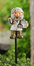 "Set of 2 Adorable Doctor Gnome w Stethascope Plant Garden Pic -  16.9"" high"
