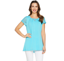 H by Halston Short Sleeve Knit Top with Lace Detail Color Surf Blue Size... - $10.80