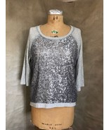 Womens Sequin HI-LO Sweatshirt Top SILENCE+NOISE Matte Gray M Urban Outf... - $33.75