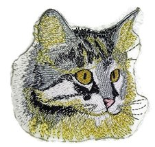 Amazing Custom Cat Portraits[Maine Coon Cat Face ] Embroidered Iron On/S... - $5.93