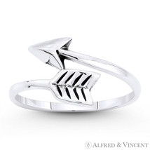 Arrow & Quill Archery Charm Oxidized .925 Sterling Silver Stackable Bypass Ring - $17.59